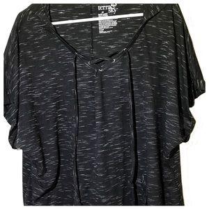 Terra & Sky 2X Black Sleeve Dolman Hoodie